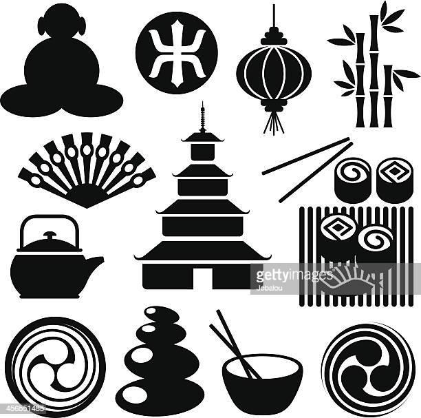 zen-like icons - pagoda stock illustrations, clip art, cartoons, & icons