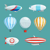 Zeppelins, big airships and balloons with cabin. Vector illustrations set in cartoon style
