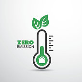 Zero Emission - Global Warming, Ecological Problems And Solutions - Thermometer Icon Design