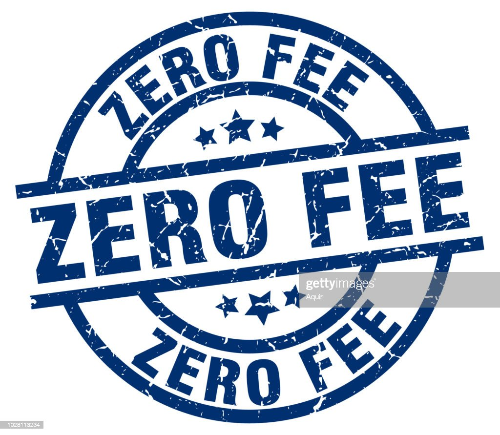 zero fee blue round grunge stamp