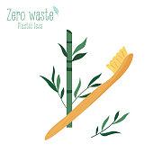 Zero waste bamboo toothbrush isolated on white background