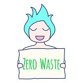 Zero waste concept. Environment protection poster. Zero waste illustration. Smiling girl with Zero waste sign in her hands. Zero waste sign. Vector illustration.