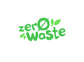 Zero Waste Text Title Sign with Leaves