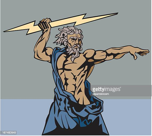 zeus and thunderbolt - greek mythology stock illustrations