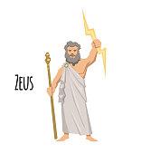 Zeus, the Father of Gods and men, ancient Greek god of sky. Mythology. Flat vector illustration. Isolated on white background.