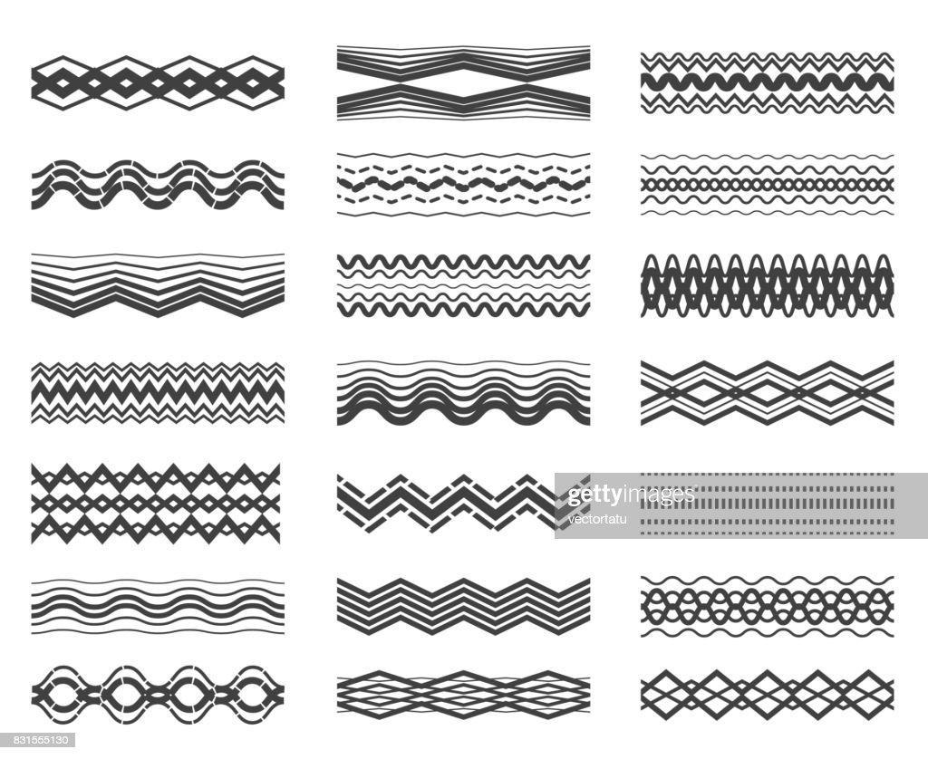 Zigzag and wavy line pattern set
