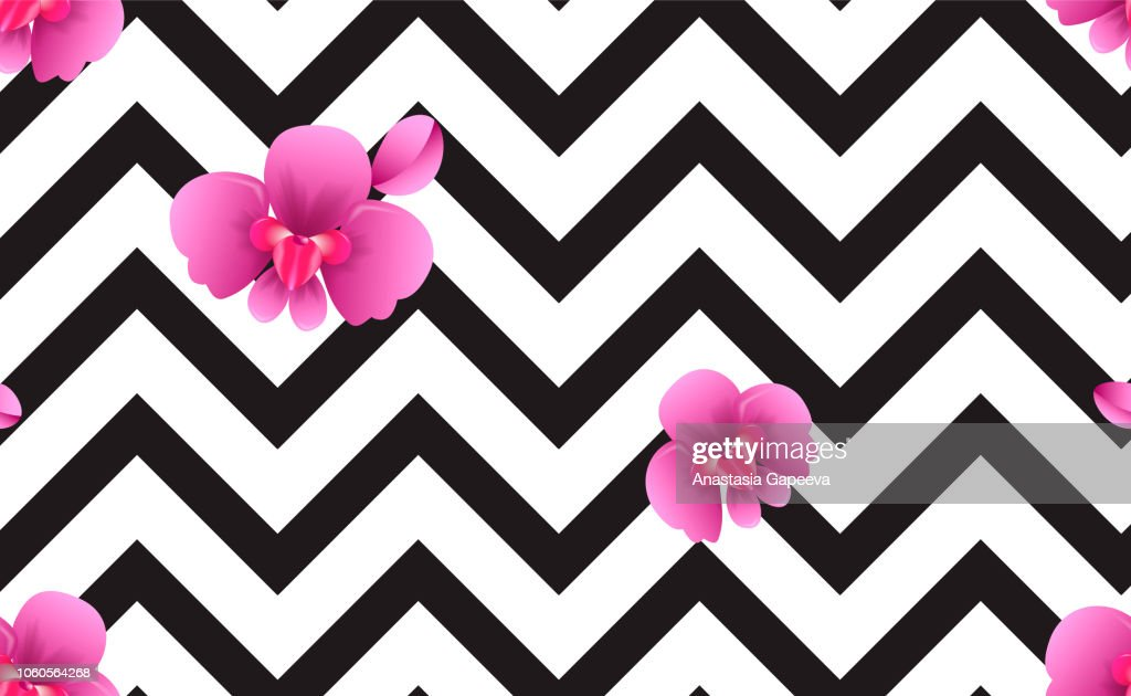 Zigzag seamless pattern with white and pink orchids. Tropical template. Vector illustration
