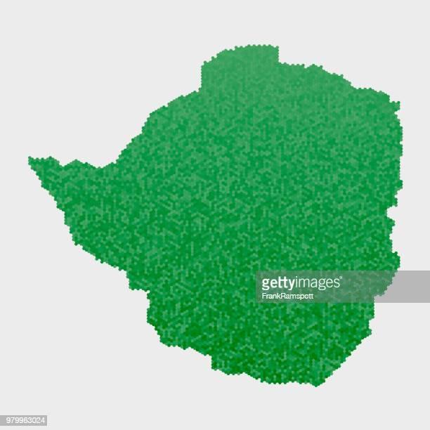 Simbabwe-Land-Map-grünen Sechseck-Muster