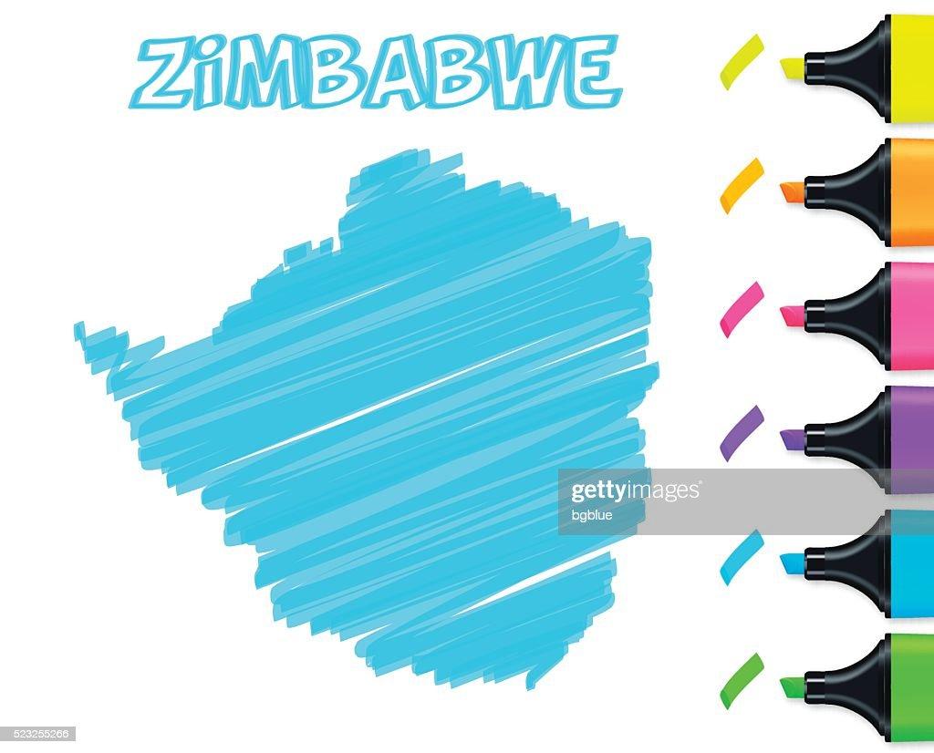Zimbabwe map hand drawn on white background, blue highlighter
