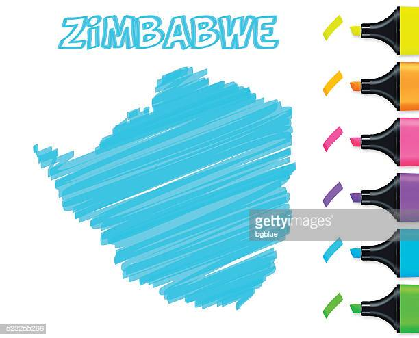 zimbabwe map hand drawn on white background, blue highlighter - zimbabwe stock illustrations, clip art, cartoons, & icons
