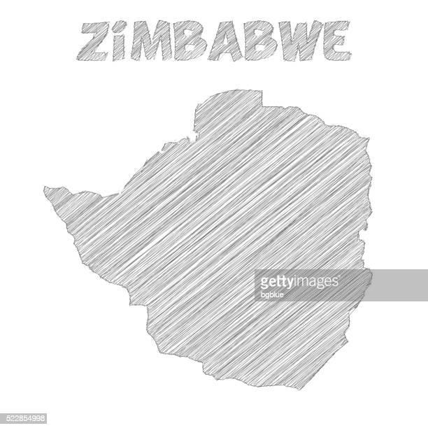 zimbabwe map hand drawn on white background - zimbabwe stock illustrations, clip art, cartoons, & icons