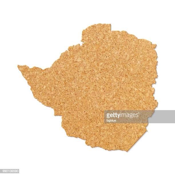 zimbabwe map in cork board texture on white background - zimbabwe stock illustrations, clip art, cartoons, & icons