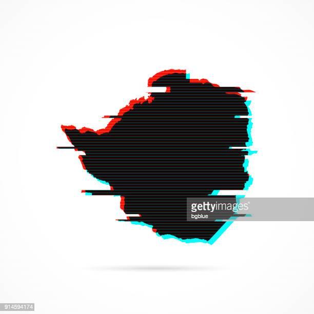 zimbabwe map in distorted glitch style. modern trendy effect - zimbabwe stock illustrations, clip art, cartoons, & icons