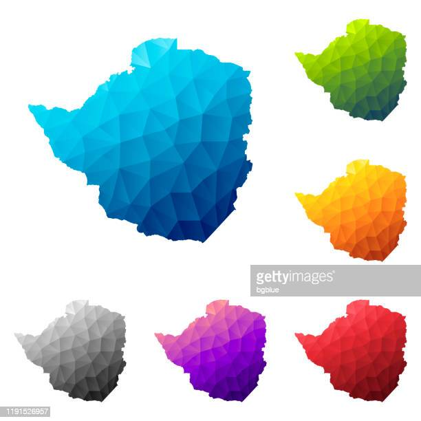 zimbabwe map in low poly style - colorful polygonal geometric design - zimbabwe stock illustrations, clip art, cartoons, & icons