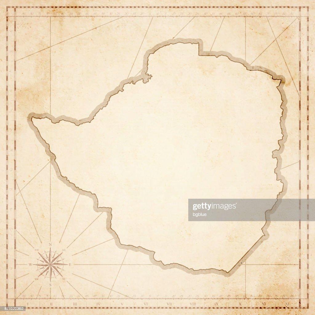 Zimbabwe Map In Retro Vintage Style