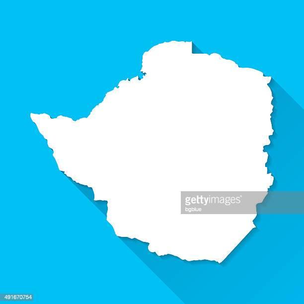 zimbabwe map on blue background, long shadow, flat design - zimbabwe stock illustrations