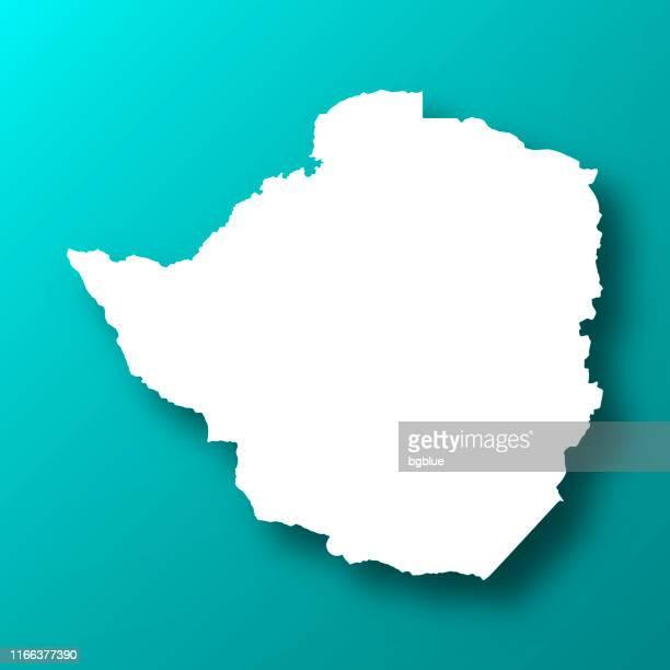 ilustrações, clipart, desenhos animados e ícones de mapa de zimbabwe no fundo verde azul com sombra - zimbabwe