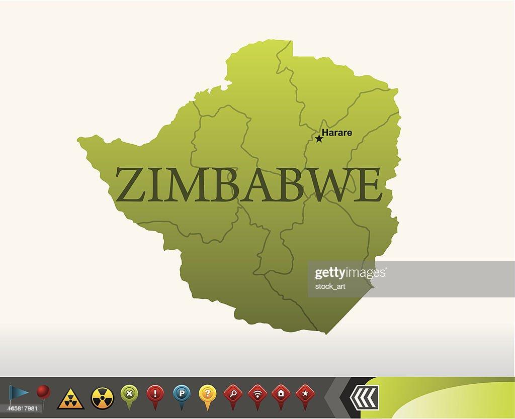Zimbabwe map with navigation icons : stock illustration