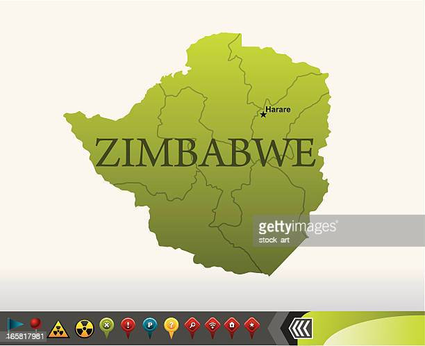 Zimbabwe map with navigation icons