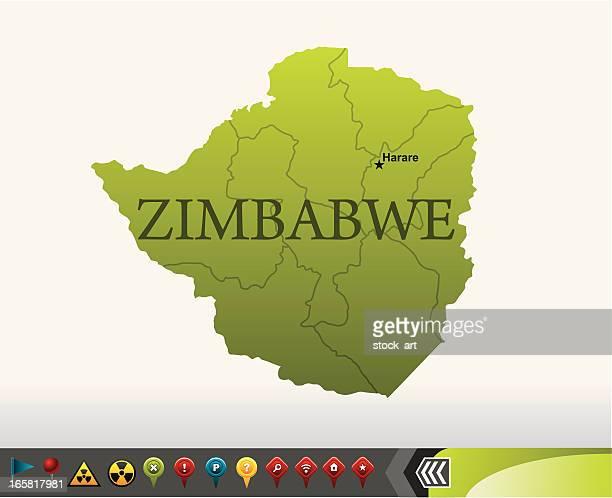 zimbabwe map with navigation icons - johannesburg stock illustrations, clip art, cartoons, & icons