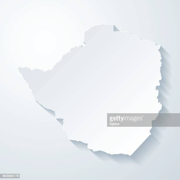 zimbabwe map with paper cut effect on blank background - zimbabwe stock illustrations, clip art, cartoons, & icons