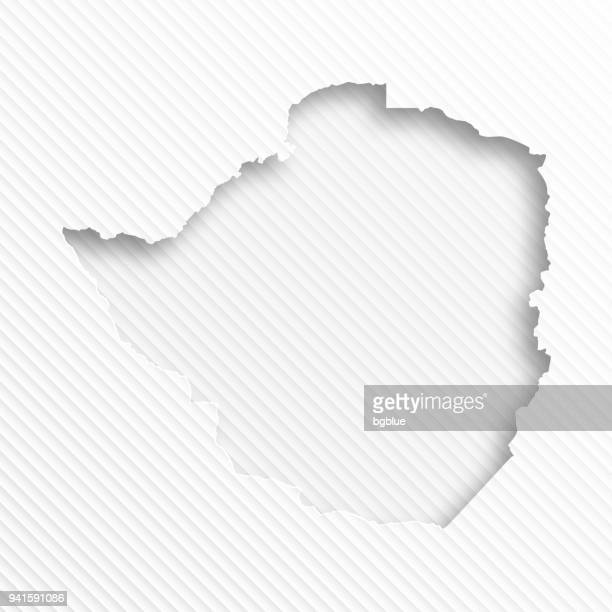 zimbabwe map with paper cut on abstract white background - zimbabwe stock illustrations, clip art, cartoons, & icons