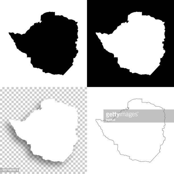 zimbabwe maps for design - blank, white and black backgrounds - zimbabwe stock illustrations, clip art, cartoons, & icons