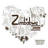 Zimbabwe symbols in heart shape concept