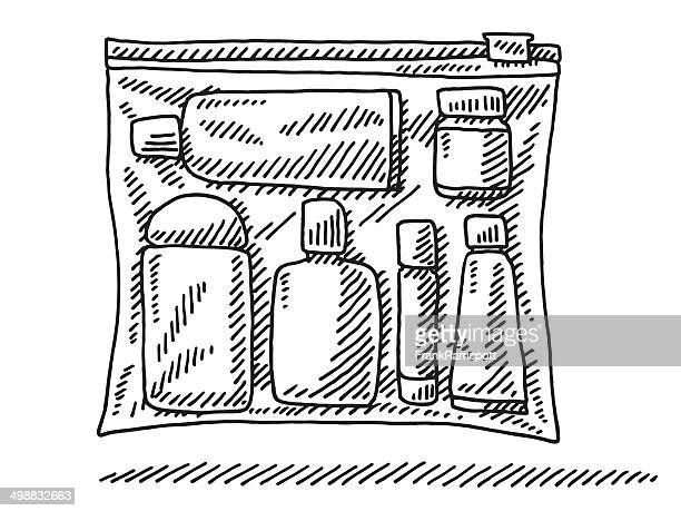 zip bag fluids security check drawing - toiletries stock illustrations