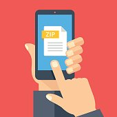 Zip file on smartphone screen. Hand holds smartphone, cellphone, finger touches screen. Download, open zip archive on phone, mobile device. Modern graphic. Flat design vector illustration