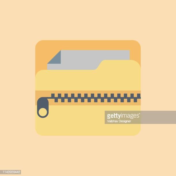 zip フォルダ、zip ファイルアイコン-イラスト - ファスナー点のイラスト素材/クリップアート素材/マンガ素材/アイコン素材
