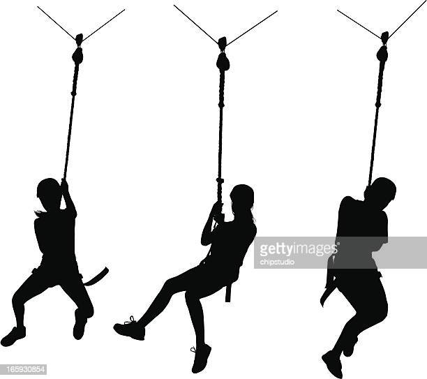 zip line - steel cable stock illustrations, clip art, cartoons, & icons