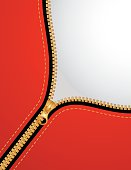 A zipper being pulled down on a red purse