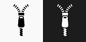 Zipper Icon on Black and White Vector Backgrounds