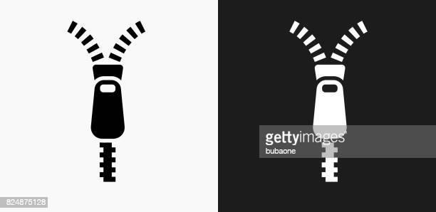 黒と白のベクトルの背景にジッパーのアイコン - ファスナー点のイラスト素材/クリップアート素材/マンガ素材/アイコン素材