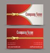 Zipper theme business card