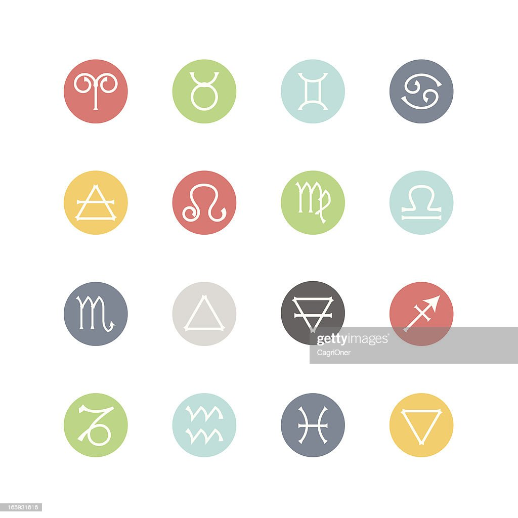 Zodiac and Four Elements Icons  : Minimal Style