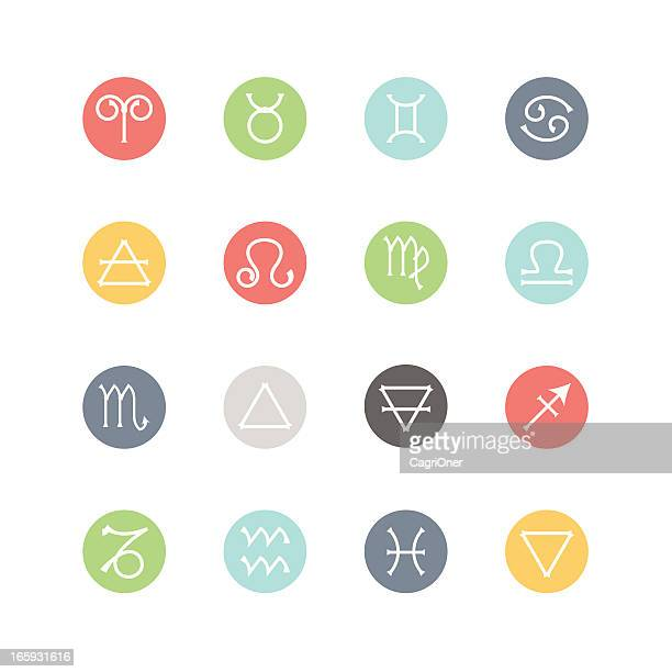 zodiac and four elements icons  : minimal style - astrology stock illustrations
