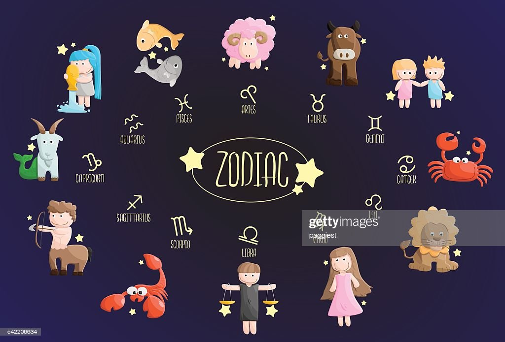 zodiac color sign symbol cartoon illustration