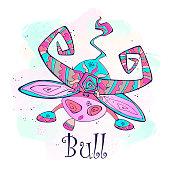 Zodiac for kids. Taurus. Cute style. Vector