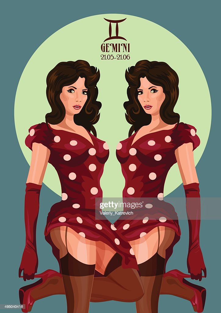 Zodiac: Gemini astrological sign. Vector illustration with portrait of a