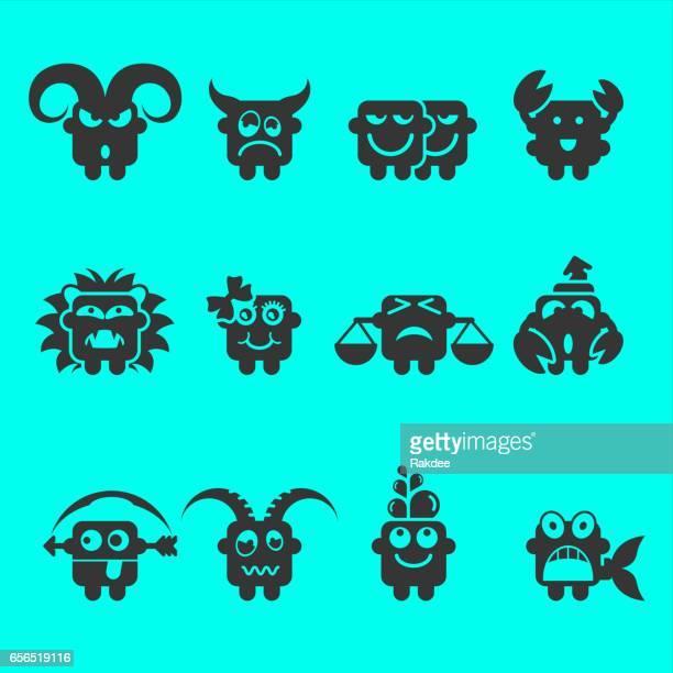ilustraciones, imágenes clip art, dibujos animados e iconos de stock de zodiac iconos - ram animal