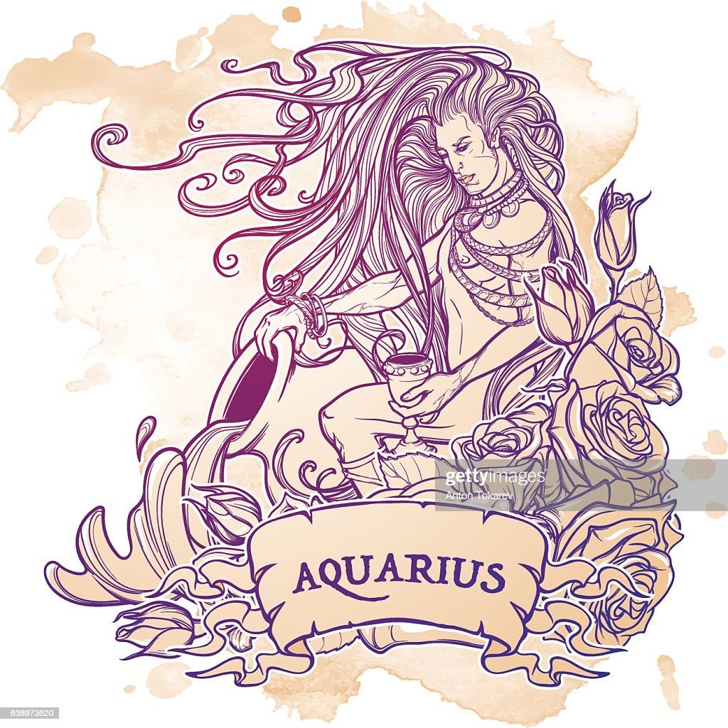 Zodiac sign Aquarius. Sketch on grunge background