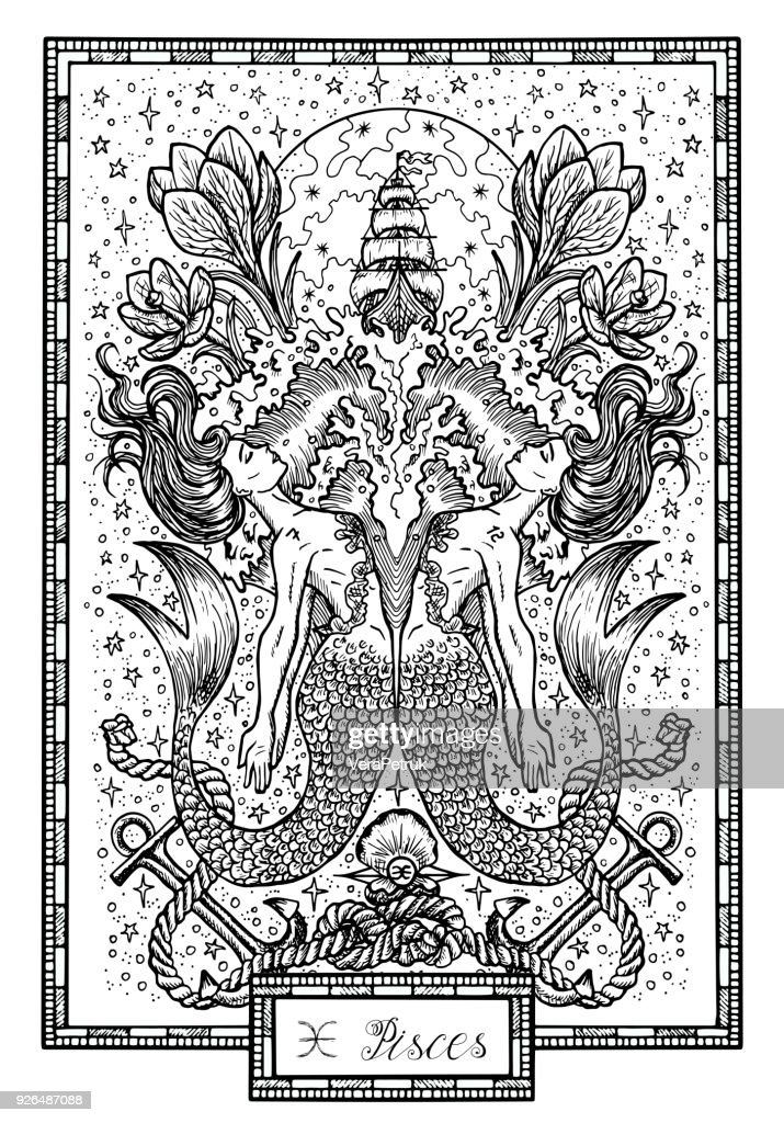 Zodiac sign Fish of Pisces with crocus flower, old ship and happy numbers