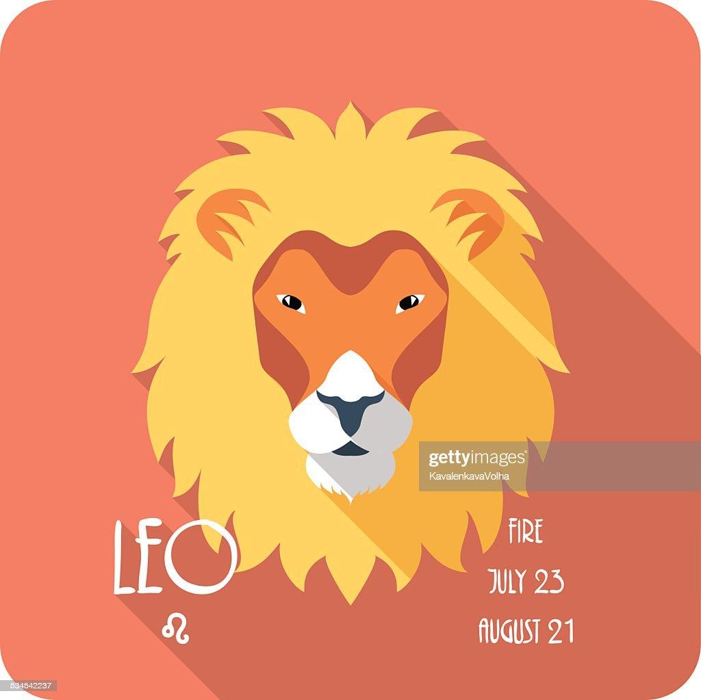Zodiac sign Leo icon flat design