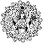 Zodiac sign Libra. Egyptian goddess Isis balancing in hands black and white lotus as a symbol of equilibrium. Decorative frame of clouds.