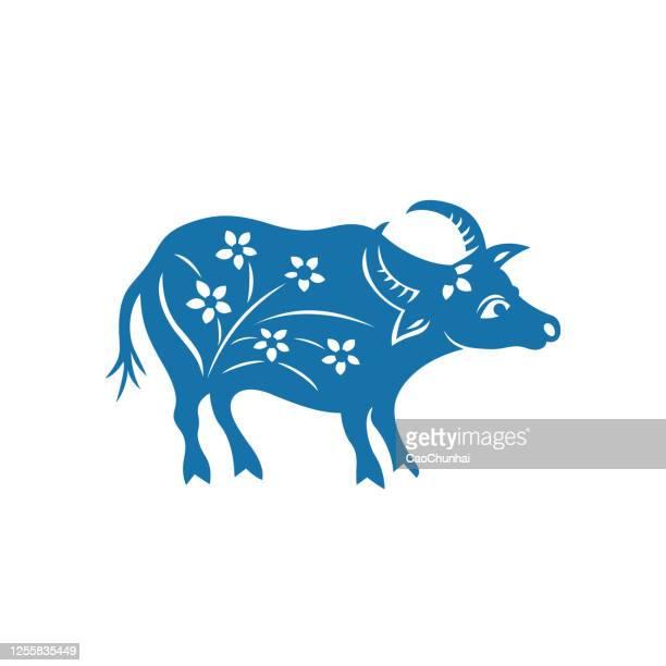 ilustrações, clipart, desenhos animados e ícones de signo do zodíaco de boi (padrões de corte de papel da china) - ox oxen