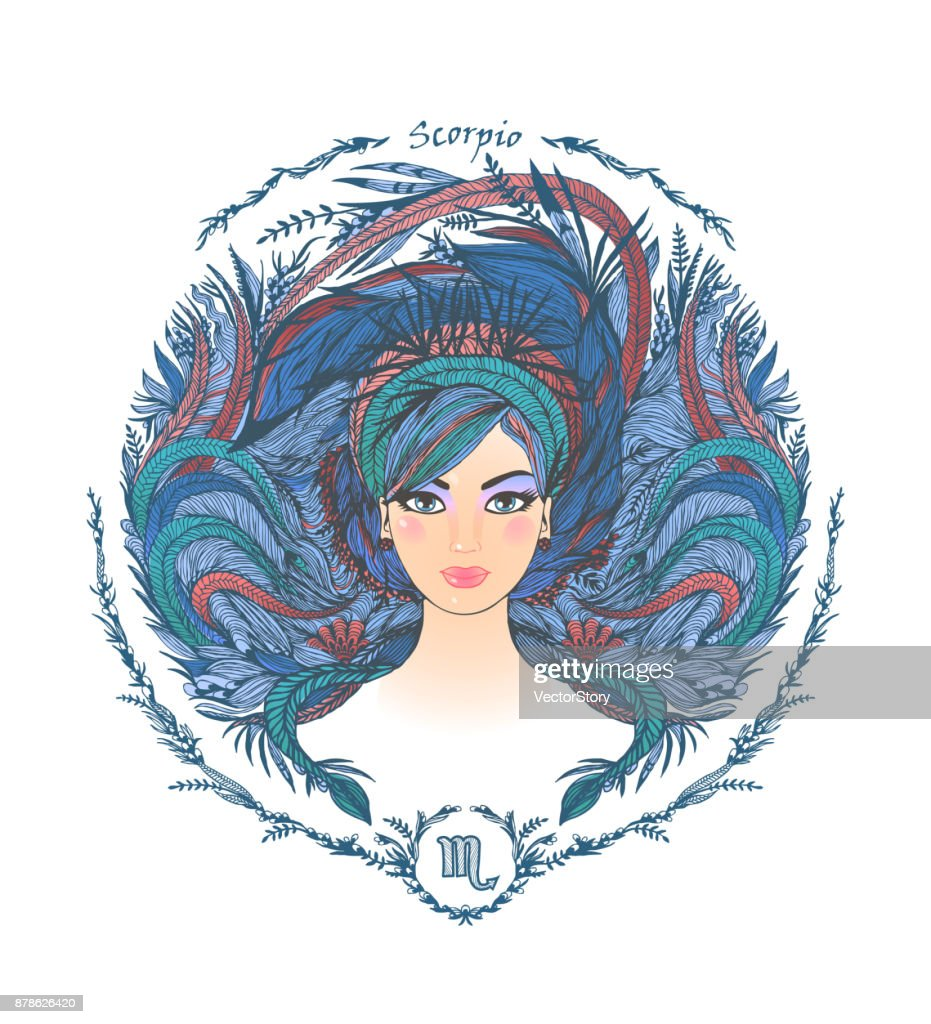 Zodiac sign. Portrait of a woman. Scorpio
