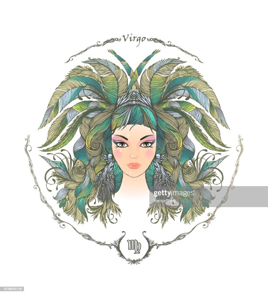 Zodiac sign. Portrait of a woman. Virgo