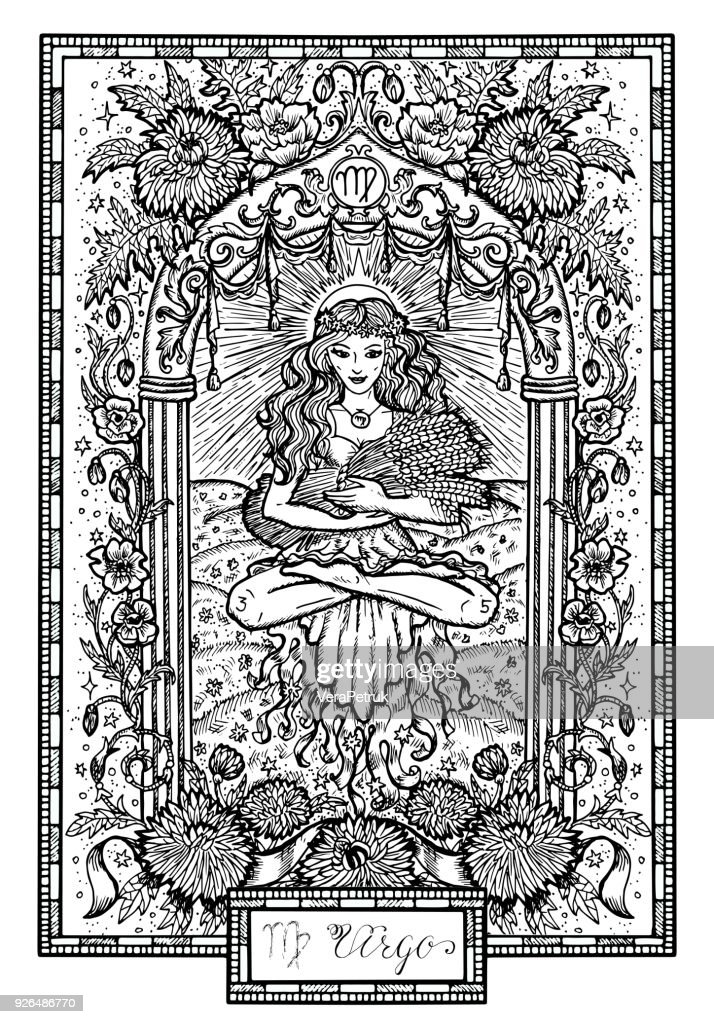 Zodiac sign Virgin or Virgo with asters and poppy flowers and lucky numbers